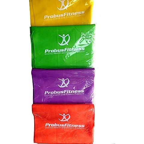 Massive venta. Juego de bandas de ejercicio con tres Workout DVDs y bolsa de Kit, Extra Largo 2000mm, 15mm de ancho, 4bandas, color amarillo, verde, morado, naranja, luz a mediano fuerte resistencia