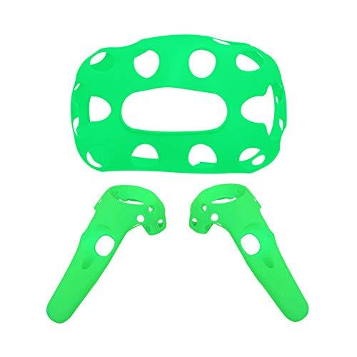 Xingsiyue Housse de Protection en Silicone de Poignée & Casque pour HTC Vive Pro Headset/Controller,VR Accessoires de Couverture Antidérapant (Vert)