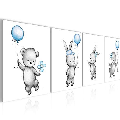 Bilder Kinderzimmer Tiere Wandbild 160 x 50 cm Vlies - Leinwand Bild XXL Format Wandbilder Wohnzimmer Wohnung Deko Kunstdrucke Blau 4 Teilig - MADE IN GERMANY - Fertig zum Aufhängen 017846c