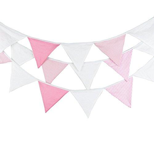 G2PLUS 5.5 M Schöne Wimpelgirlande Se Bunting Wimpelkette Farbenfroh Wimpeln mit 24 Anhänger Fahnen für Party Draußen (Rosa) (Willkommen Zu Hause Baby-jungen-banner)