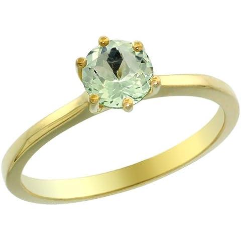 In oro giallo 14 k con ametista verde Anello con solitario rotondo 6 mm, taglie J-T