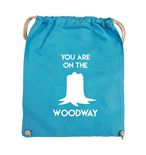 Comedy Bags - YOU ARE ON THE WOODWAY - Turnbeutel - 37x46cm - Farbe: Schwarz / Pink Hellblau / Weiss