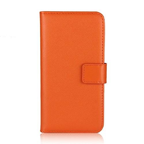 Meimeiwu Hohe Qualität Wallet Case Flip Cover Hüllen Schutzhülle Etui Hülle mit Standfunktion für iPhone 8 - Weiß Orange