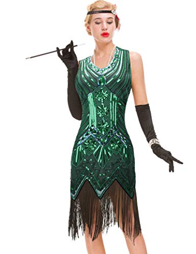 GVOICE Damen Art Deco Vintage Gatsby Kleid - 1920er Jahre Cocktail Flapper Kleid (Grün, M(UK 12 / EU 40) Bust 35.4