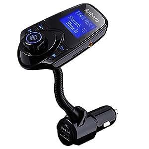 Anbero Trasmettitore FM Bluetooth per Auto Vivavoce Kit con caricabatteria per auto USB, 3.5mm Porta Audio, Slot per Schede Micro SD, Schermo 1,44 pollici