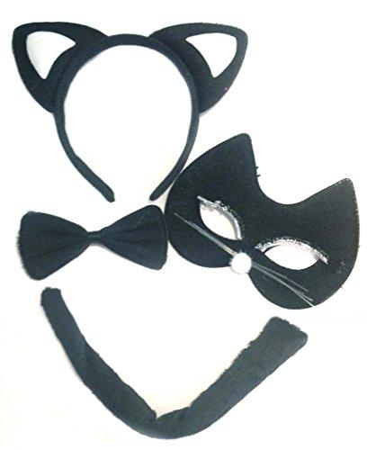 Imagen de allsorts  disfraz de gato negro para halloween orejas, rabo, antifaz y pajarita