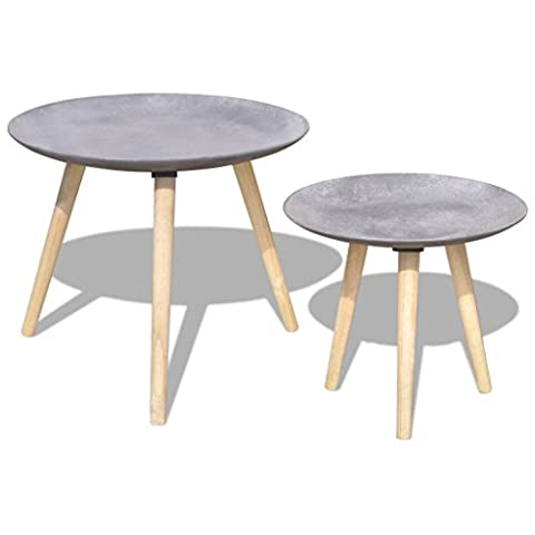Anself Wooden Round Side Table Coffee Table Set 55 cm&44 cm Concrete Grey Set of 2