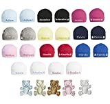 100% Super Soft Double Layered Cotton Personalised Embroidered Baby Hat - Available in Sizes 0-3, 3-6 and 6-12 Months and 10 Colours to Choose from