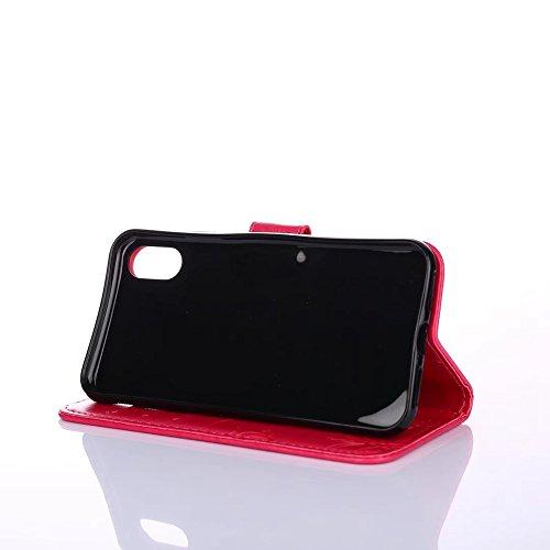 GR Horizontale Flip Stand Case Geldbörse Geldbörse mit Lanyard & Soft TPU Cover & Card Slots für iPhone X ( Color : Rosegold ) Red