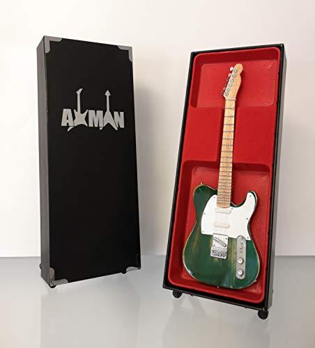 lica: Francis Rossi-Distressed Grün Tele-Modell Mini Rock Kuriositäten Nachbildung Holz Miniatur-Gitarre & Display Gratis Ständer (UK Verkäufer) ()