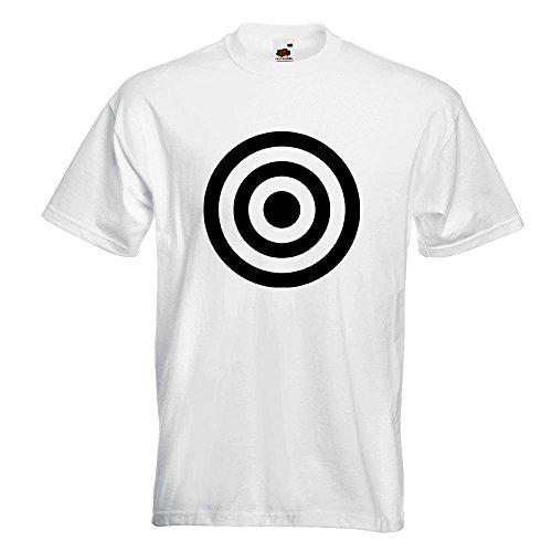 KIWISTAR - Bullseye Zielscheibe RAF T-Shirt in 15 verschiedenen Farben - Herren Funshirt bedruckt Design Sprüche Spruch Motive Oberteil Baumwolle Print Größe S M L XL XXL Weiß