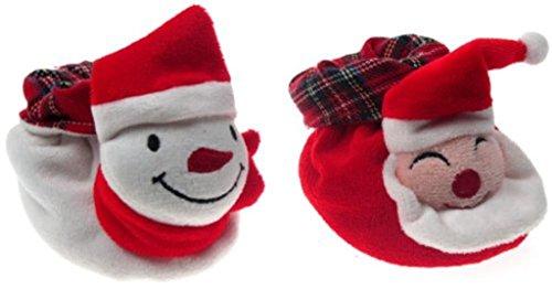 softouch , Baby Jungen Krabbelschuhe & Puschen White - Snowman 0-6 Monate Red - Santa