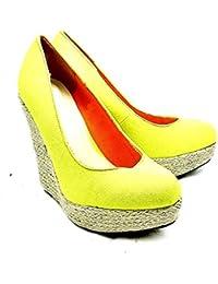 SendIt4Me Coral Patent Wicker Wedge Court Shoes 7tgtIDw