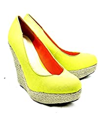SendIt4Me Coral Patent Wicker Wedge Court Shoes