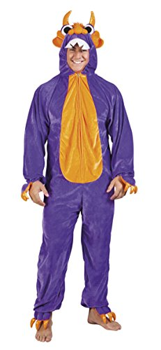 Motto-Party Karneval Kostüm Plüsch Monster Set, Onesie, Komplett-Jumpsuit, One Size, Violett (Tüll Halloween Kranz)