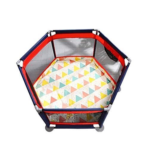 QFFL Laufgitter Laufstall Baby-Laufstall, 6-seitig Hexagon Indoor Outdoor Kinder-Aktivitätscenter mit Doppelseitiger Matte Safe Play Yard Atmungsaktives Mesh Tragbar und Einfach Zu Installieren-pink B -