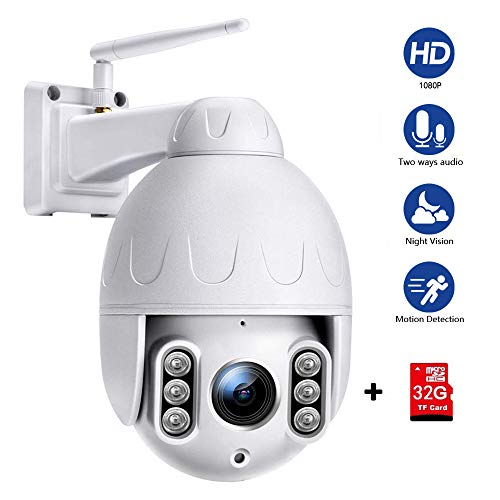 PTZ Camera wifi 1080P, IP Camera 355° Pan/90° Tilt, Sensore di Movimento, Interfono Vocale Bidirezionale, 30M Visione notturna a colori, IP66 Impermeabile, Messaggio Push
