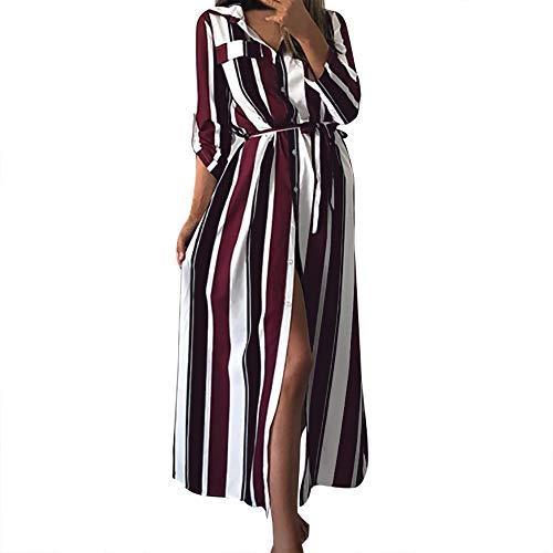 Elecenty Damen Streifen Abendkleider Frauen Tasten Partykleid Elegante Cocktailkleider Langarmkleid Split Kleid Maxikleid Freizeitkleidung