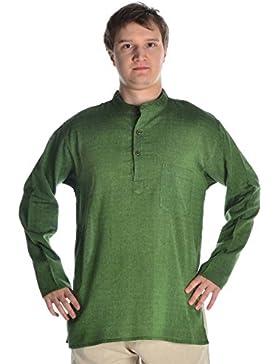 HEMAD Herren Hemd Fischerhemd beige blau schwarz S-XXXL reine Baumwolle