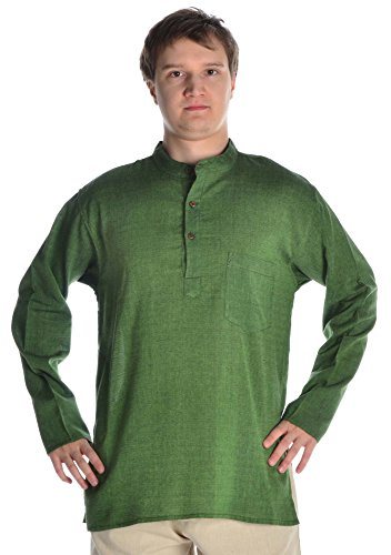 Verschiedene Traditionelle Indien Kostüm Von - HEMAD Herren Hemd Fischerhemd Reine Baumwolle XXXL grün