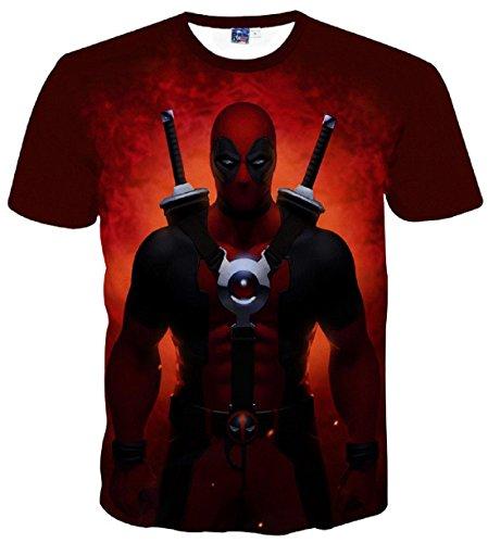 Men's 3D American Comic Deadpool Printed Tee Shirt 6
