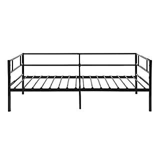 Aingoo Tagesbett Einzelbett mit Bettrahmen Metallbett Perfekt als Gästebett Jugendbett Kinderbett Reines Schlafbett Schwarz, 90 x 190 cm