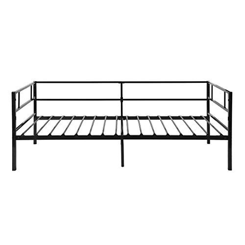 Aingoo Tagesbett Einzelbett Mit Bettrahmen Metallbett(Schwarz, 90 X 190 Cm)