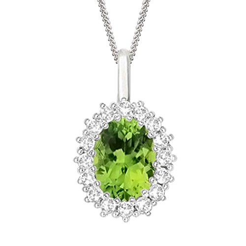"Silvernshine 2.30 Ct Oval Peridot & D/VVS1 Diamond Halo Pendant With 18"" ChaIn In 14K White Gold Fn"