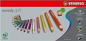 Crayon de coloriage - STABILO woody 3in1 - Étui carton de 18 crayons tout-terrain + taille-crayon