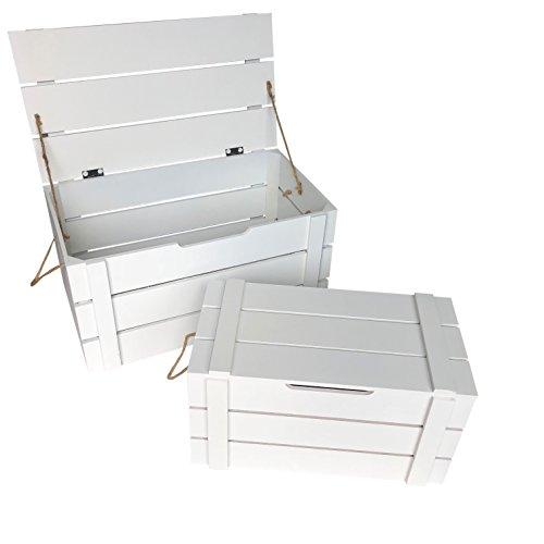 Online-Fuchs 2er Set Holzkisten mit Deckel - Obstkisten, Weinkisten als Deko (Weiß)