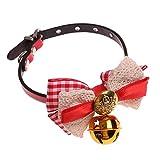 Domybest Hundehalsband mit Karierter Schleife und Glöckchen, aus PU-Leder, Verstellbare Halskette für Welpen und Katzen