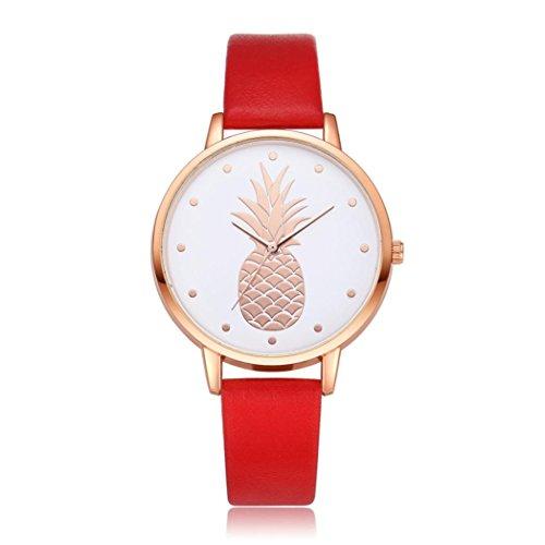 HEHEM, Women watch Femme, montres Hehem Femme ronde montre bracelet de luxe Mode Bande de cuir montres à quartz analogique, red