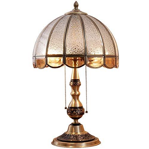 HZC Traditionelle Tischlampe Viktorianischen Stil Kupfer Lampe Körper Stoff Schatten Vintage Schreibtischlampe Nachttischlampe Leuchte für Wohnzimmer Schlafzimmer Villa Büro - Lampe Viktorianische Tisch Lampe