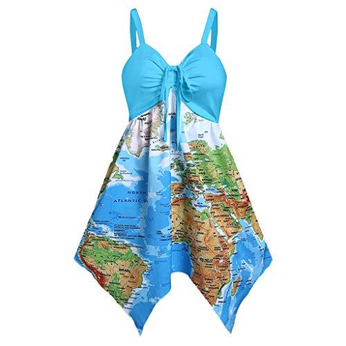 Setsail Damen Mode Fliege Sling Weltkarte Print Cinched Flare Taschentuch Kleid - Cinched Taille Top