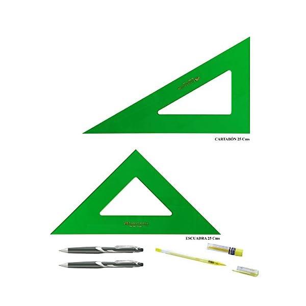 PACK LOTE Faber Castell Técnico – Escuadra 566-25 Cms + Cartabón 666-25 Cms + REGALO