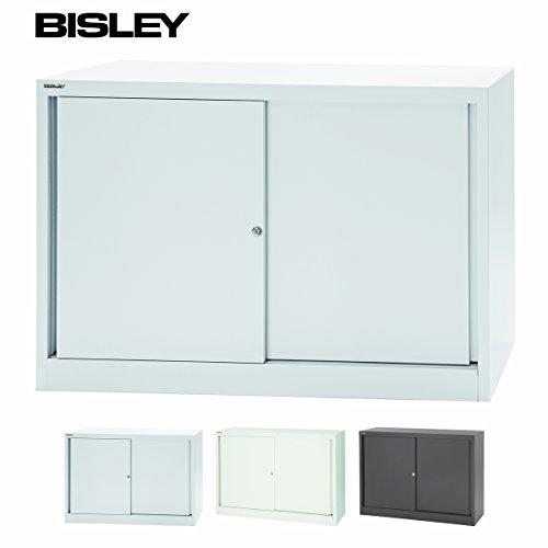 BISLEY Schiebtürenschrank | Aktenschrank | Werkzeugschrank | Schrank mit Schiebetüren aus Metall abschließbar inkl. X Einlegeböden | ECO Stahlschrank