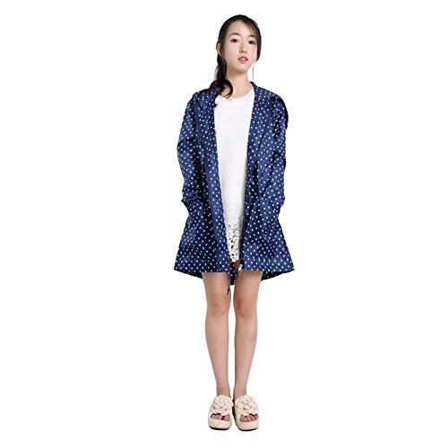 Vêtements de Pluie Manteau Imperméable à Capuche XAGOO Mode Elégant pour Femmes et Filles Bleu foncé