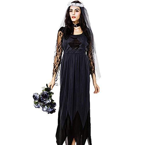Women's Lace Seite Tüll Ghost Braut für Halloween-Karneval Beinhaltet + Halsring + Kopfring (Womens Native Prinzessin Kostüm)