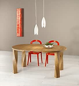 "Table repas ronde chêne massif pied hélice ""bibido5"" Meuble House"