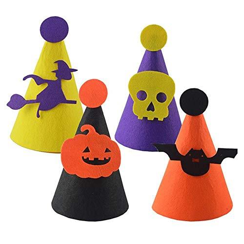 Shousboxhi 4 pezzi cappelli di halloween fai da te cappello di feltro cappelli di stoffa decorazioni per la testa copricapo (nero + arancio + viola + giallo, 1pc per ogni colore)