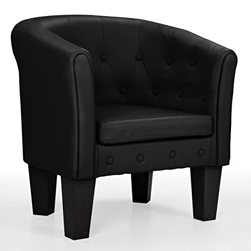 Homelux Clubsessel Loungesessel Cocktailsessel Chesterfield (L x B x T) 70 x 69 x 60 cm SCHWARZ