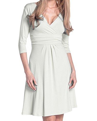Glamour Empire Femme Robe d'été élégante Manches 3/4 Col V 282 Blanc Cassé