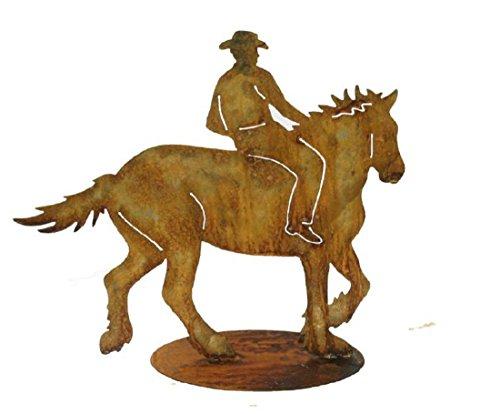 Schmiedeeisen Center Walser Westernreiter mit Pferd auf Einer Platte, Naturrost, handgefertigt