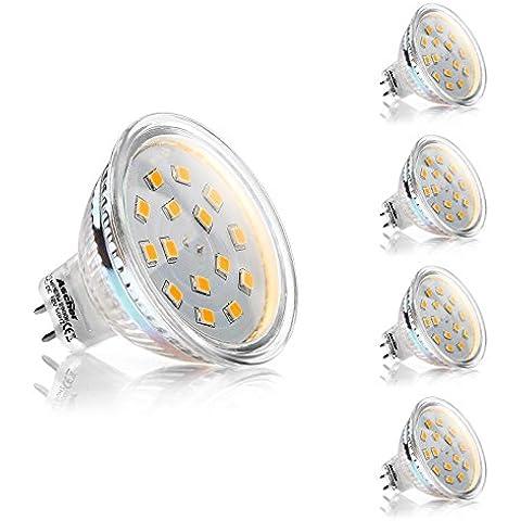 Ascher Lampadine a LED da 3W MR16 GU5.3, Pari ad una Lampada Alogena da 35W, 250lm, Luce Bianco Caldo, AC/DC 12V, Angolo a fascio da 120°, Faretti, Luci ad incasso, Confezione da 4 unità