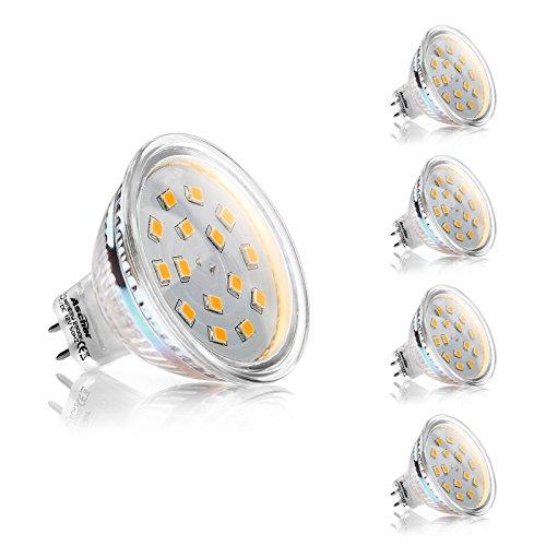 Ascher 4er Pack GU5.3 MR16 3W LED Lampen, 270LM, Ersatz für 30W Halogenlampen,12V AC / DC, Warmweiß,120 ° Abstrahlwinkel, LED Birnen, LED Leuchtmittel - Mr16 Lampe