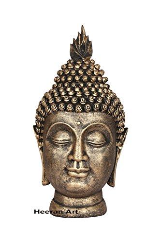 HEERAN ART Polyresin Buddha Head Figurine GLD 24cm