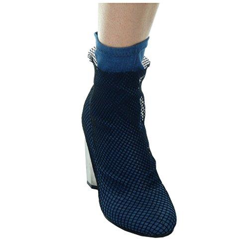 Angkorly - Scarpe da Moda Stivaletti - Scarponcini cavalier flessibile donna fishnet Tacco a blocco tacco alto 9 CM Blu