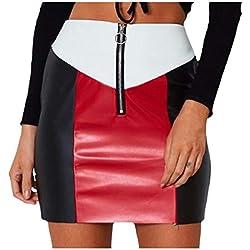 Andopa Club de la falda corta de cuero ajustado de cintura largo de la falda del vendaje para Mujeres Grande Como la imagen