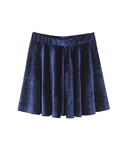 CuteRose Women Velour Skinny Sexy Casual Classics Basic Short Pencil Skirt S Navy Blue (Skirt Navy Knit)