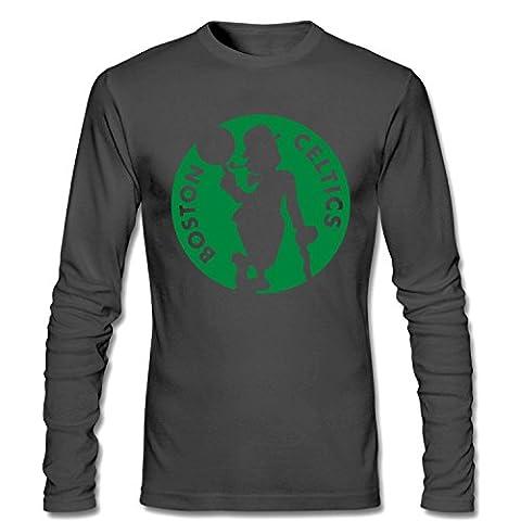 Arnoldo Blacksjd Men's Boston Celtics Long Sleeve Cotton T shirt dark grey XL Large
